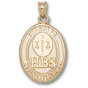 Harvard Business Oval 3/4in Pendant - 14kt Yellow Gold