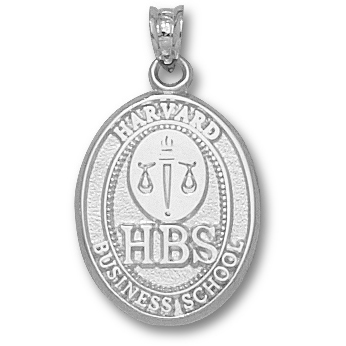 Harvard Business Oval 3/4in Pendant - Sterling Silver