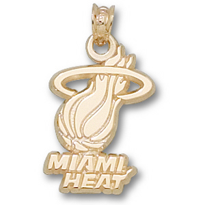 10kt Yellow Gold 5/8in Miami Heat Logo Pendant