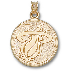 14kt Yellow Gold 3/4in Miami Heat Basketball Pendant