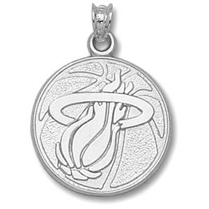 Sterling Silver 3/4in Miami Heat Basketball Pendant