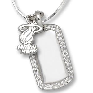 Sterling Silver Miami Heat Mini Dog Tag Necklace