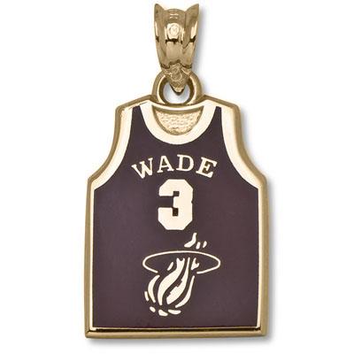 14kt Gold 5/8in Miami Heat Wade Jersey Enamel Pendant