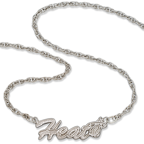 Sterling Silver 18in Miami Heat Script Necklace