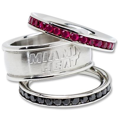 Miami Heat Team Logo Crystal Stacked Ring Set