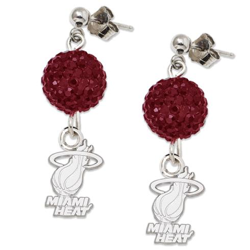 Sterling Silver Miami Heat Ovation Earrings