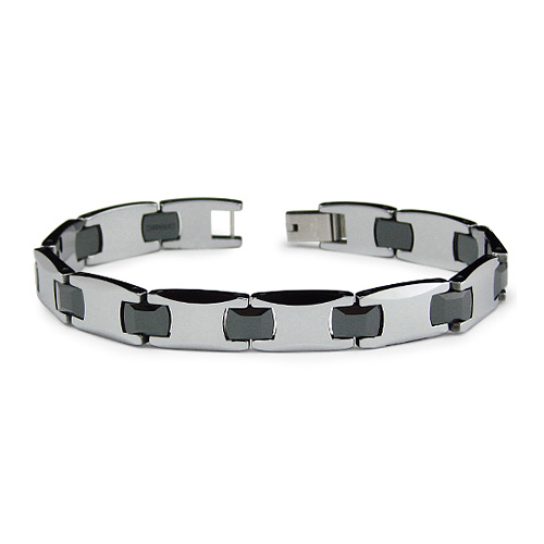 Tungsten and Ceramic 8.5in Link Bracelet