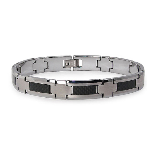 Tungsten 8.5in Bracelet with Carbon Fiber Inlay