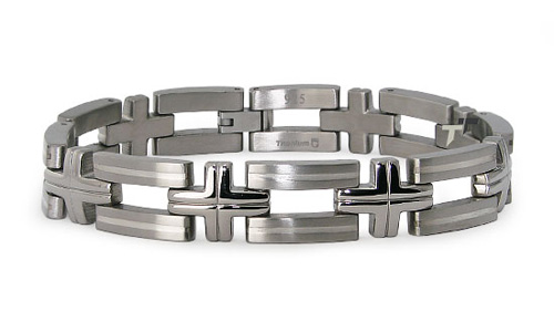 Titanium 8.5in Cross Bar Bracelet with Silver Inlay