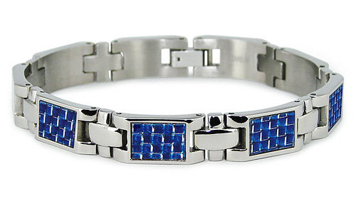 Titanium 7.75in Bracelet with Blue Carbon Fiber