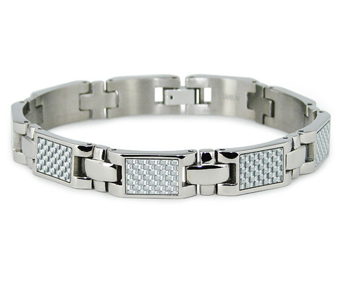 Titanium 8.25in Bracelet with White Carbon Fiber