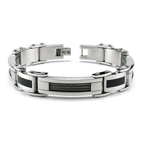 Stainless Steel 8.5in Cable ID Bracelet with Carbon Fiber