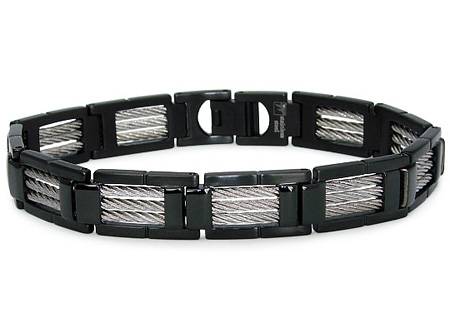 Black Stainless Steel 8.5in Cable Bracelet