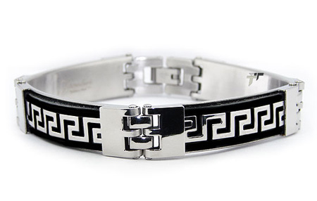 Stainless Steel 8.75in Rubber Greek Key Bracelet