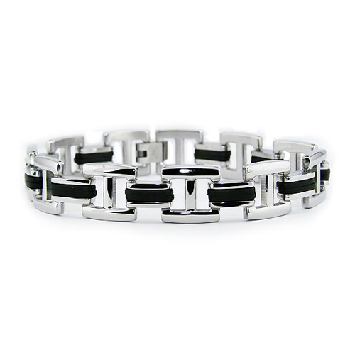 Stainless Steel 8.5in Link Bracelet Rubber Inlay