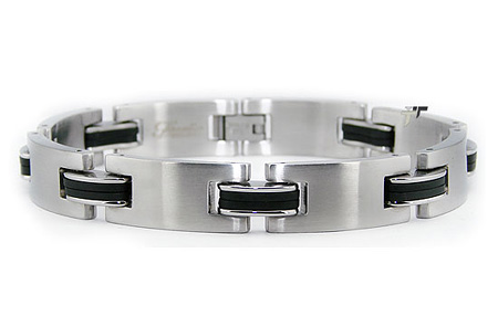 Stainless Steel 8.5in Biker Rubber Link Bracelet