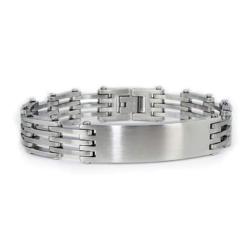 Stainless Steel 8.25in Satin and Polished ID Bracelet