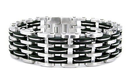 Stainless Steel 8.5in Rubber Bracelet with Wide Profile