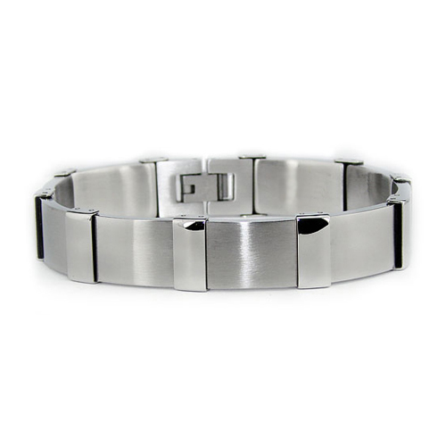 Stainless 8.5in Steel Bracelet with Solid Links