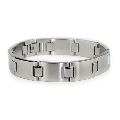 Stainless Steel 8.25in Brushed Link Bracelet with Polished Hinges