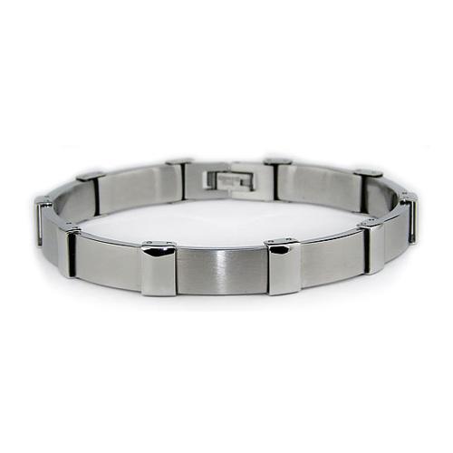 Stainless Steel 8.5in Rectangular Link Bracelet