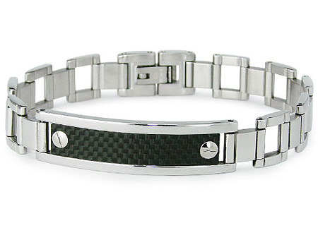 Stainless Steel 8in Carbon Fiber ID Bracelet