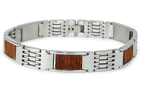 Stainless Steel with Wood Inlay Bracelet 8.5in