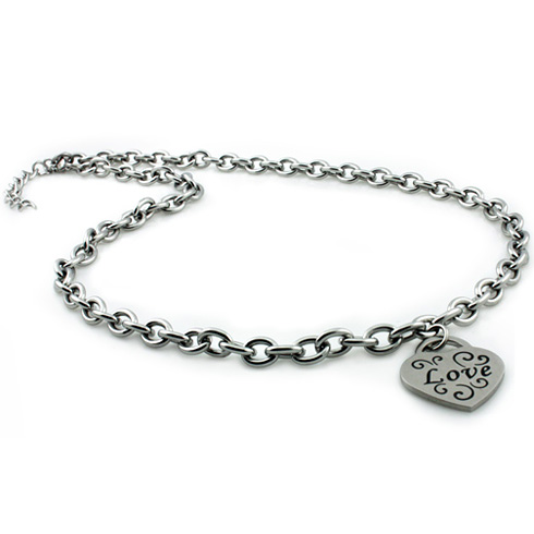 Stainless Steel Heart Love Charm 18in Necklace