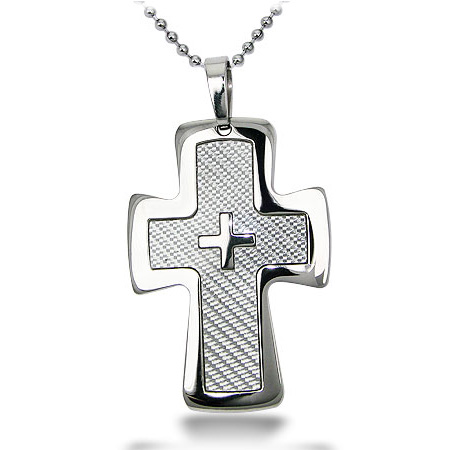 Stainless Steel 2in Carbon Fiber Cross on 22in Chain