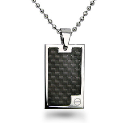 Stainless Steel Black Carbon Fiber Dog Tag with 22in Bead Chain