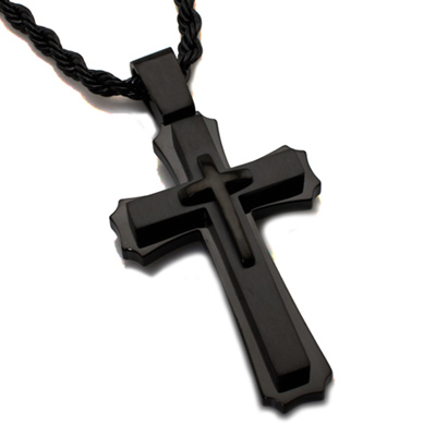 Black-plated Steel 2in Cross Pendant with 24in Rope Chain