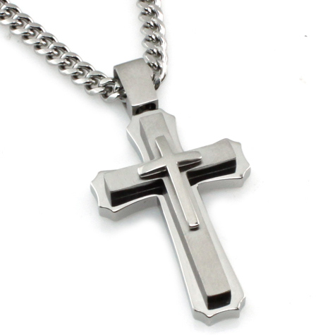Stainless Steel 1 1/2in Tri-Level Cross with 24in Curb Chain
