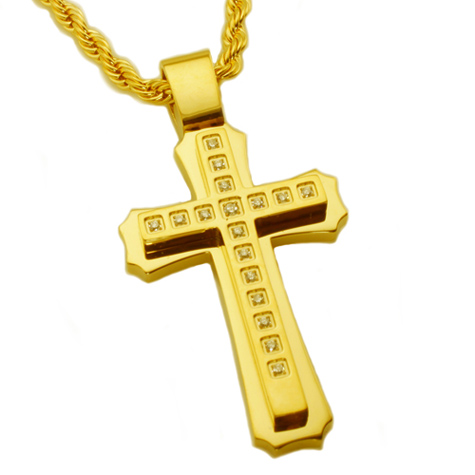 Gold-plated Stainless Steel 2in Cubic Zirconia Cross on 24in Rope Chain
