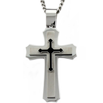 Stainless Steel 2in Cross Pendant with 24in Curb Chain