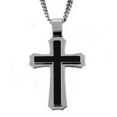Stainless Steel 2in Black Carbon Fiber Cross with 24in Curb Chain