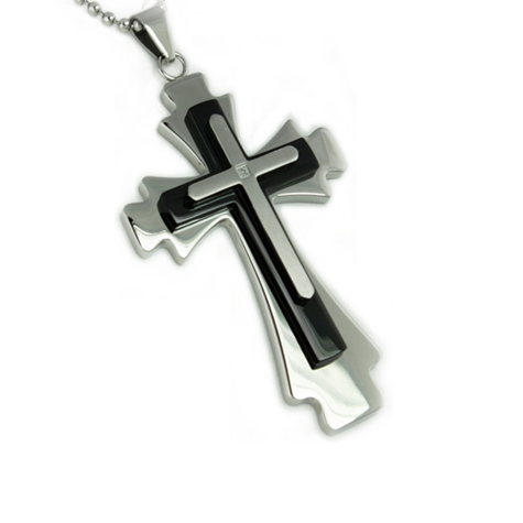 Black-plated Stainless Steel 2in Diamond Cross with 24in Bead Chain