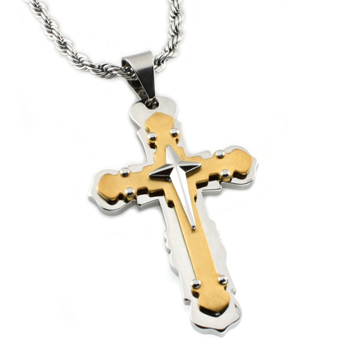 Gold-plated Stainless Steel 2 1/2in Cross Pendant with 24in Rope Chain