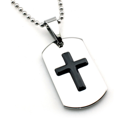 Stainless Steel 1 3/8in Cross Dog Tag with 24in Bead Chain
