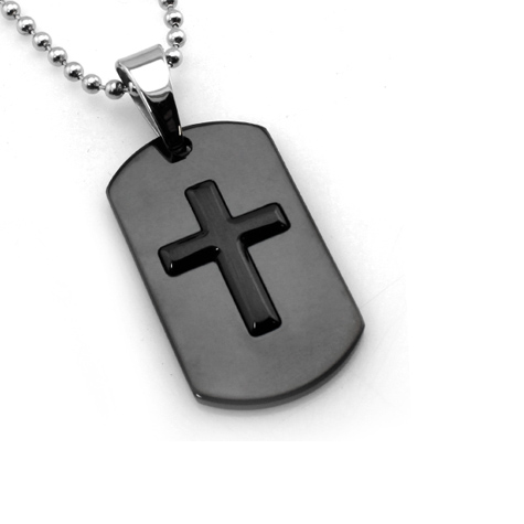 Black-plated Stainless Steel 1 3/8in Cross Dog Tag with 24in Bead Chain