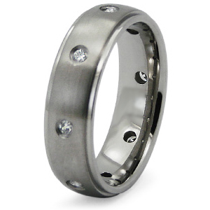 Titanium 6.5mm Wedding Band with CZs