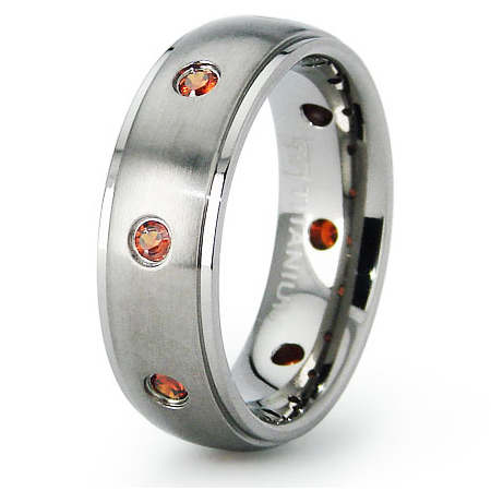 Titanium 6.5mm Wedding Band with Orange CZs