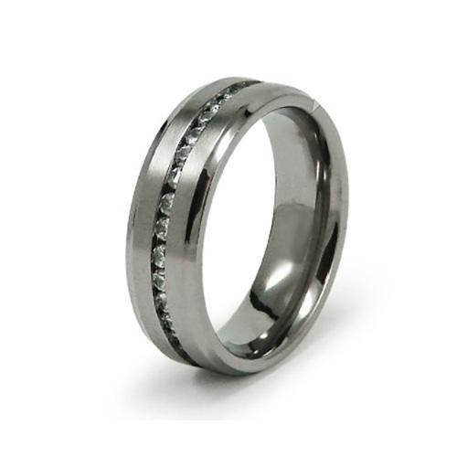 Titanium 7mm Ring with CZs