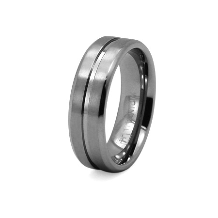 Titanium 6mm Wedding Band with Ribbed Center