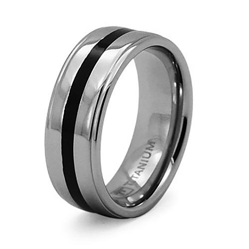 Titanium 8mm Ring with Black Enamel