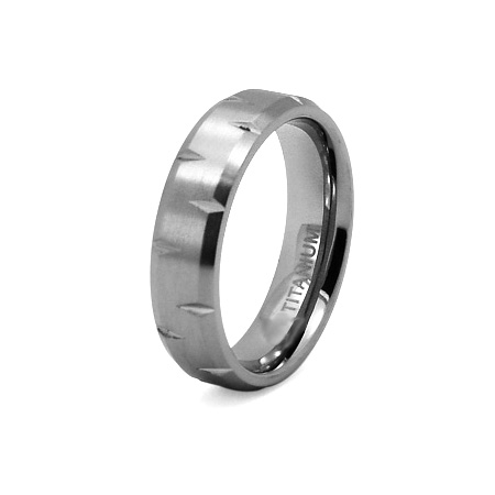 Titanium 6mm Diamond Cut Brushed Ring