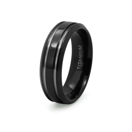 Black Plated Titanium 8mm Ring with Grooves
