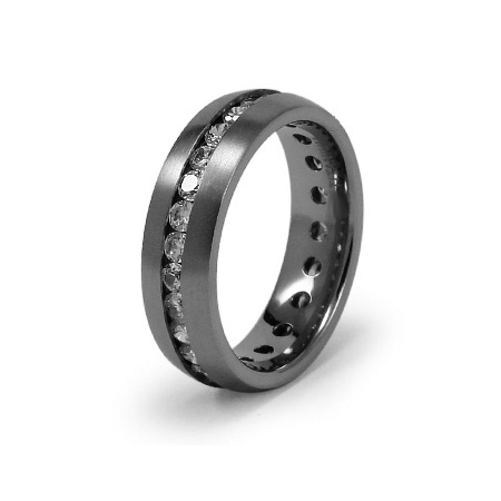 Titanium 7mm Eternity Ring with CZs