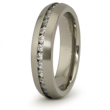 Titanium 5mm Eternity Ring with CZs