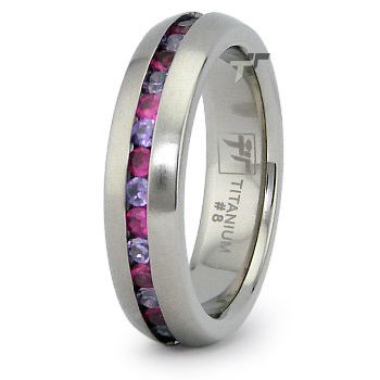 5.5mm Titanium Eternity Band with Pink and Purple CZs
