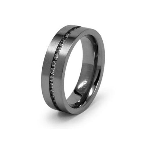 Titanium 7mm Flat Brushed Eternity Ring with CZs
